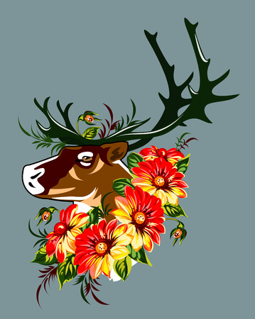 tundra: The head of a deer in red blooming flowers Illustration