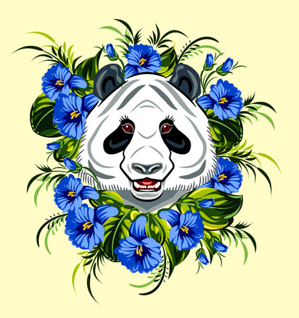 ear bud: Panda with wildflowers Illustration
