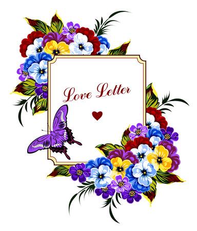 biglietto di auguri d'epoca con viole del pensiero e una farfalla