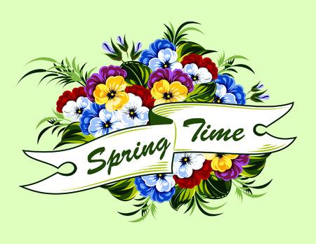 Banner con fiori di primavera viole del pensiero