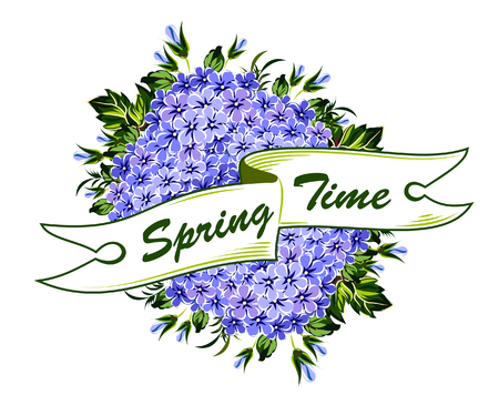 Banner with spring flowers lilacs