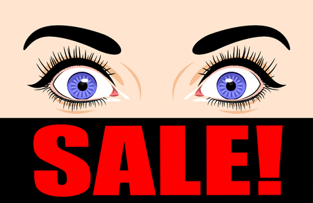 disbelief: Surprised female eyes and a poster sale