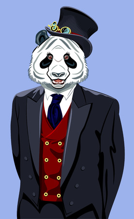 man's suit: Panda in the business mans suit and top hat