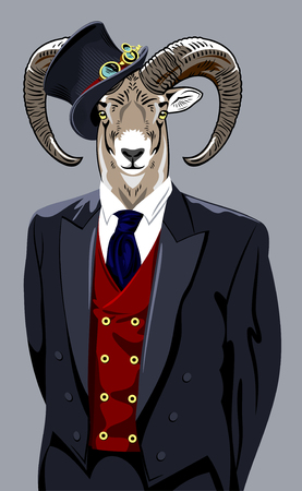 man's suit: Sheep in the business mans suit and top hat Illustration
