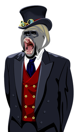 british ethnicity: Gorilla in the business mans suit and top hat