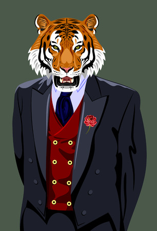 man's suit: Tiger in the business mans suit Illustration