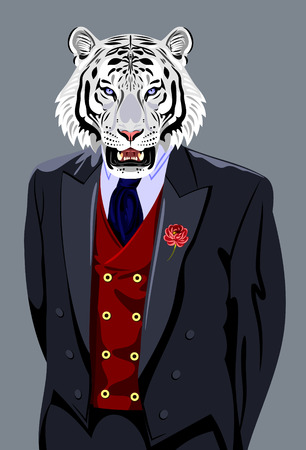british ethnicity: Tiger in the business mans suit Illustration