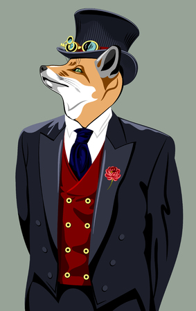 man's suit: Fox in the business mans suit and top hat Illustration