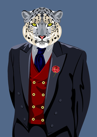 snow leopard: Bars in the business mans suit Illustration