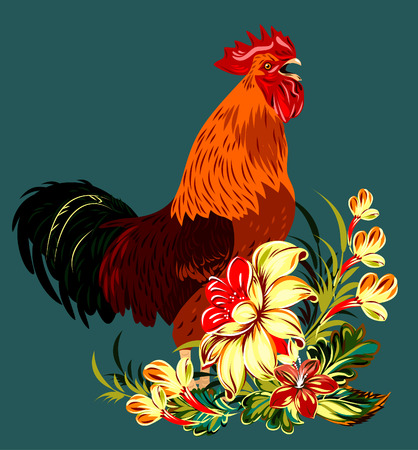 thicket: cock in a thicket of flowers