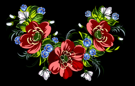 wildflowers: Garland of red poppies and wildflowers Illustration