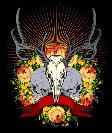 deer skull: The emblem of the deer and human skulls with a banner and wild roses