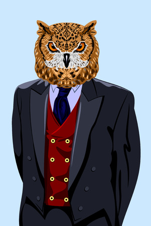 portrait of an owl in a business suit