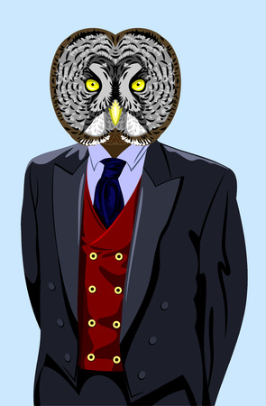 cyberpunk: portrait of an owl in a business suit