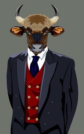 horned: Portrait of a horned bull in a business suit