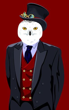 cyberpunk: portrait of an owl in a business suit and top hat Illustration