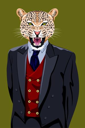 cat's eye glasses: portrait of a leopard in a business suit Illustration