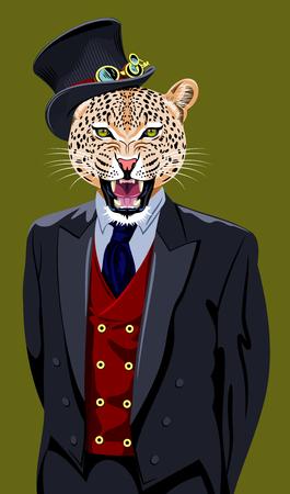 portret van een luipaard in een pak en hoge hoed
