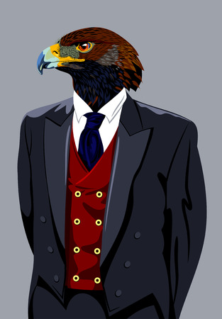 mighty: Portrait of an eagle in a business suit Illustration