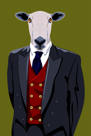 cyberpunk: Portrait of sheep in a business suit Illustration