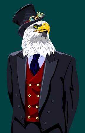 Portrait of an eagle in a business suit and top hat