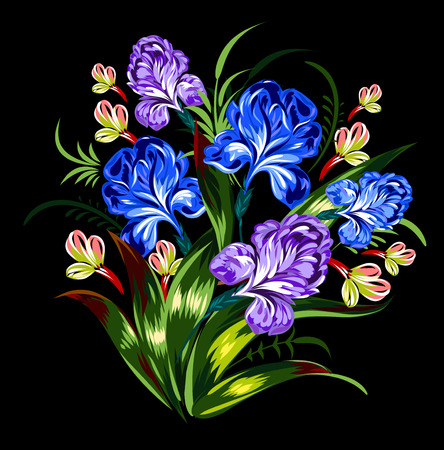 single flower: Luxury bouquet of irises in vintage style