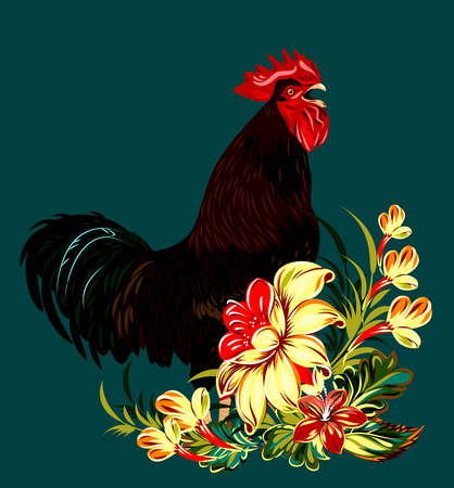 cock in a thicket of flowers