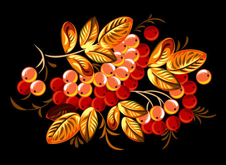 sorb: Branches of a mountain ash with berries Stock Photo