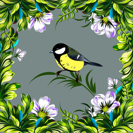 chickadee: Floral summer frame with tender wildflowers and small titmouse