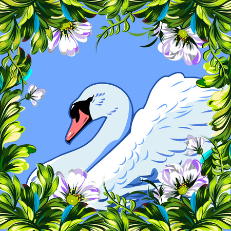 greatness: Floral summer frame with tender wildflowers and the Swan