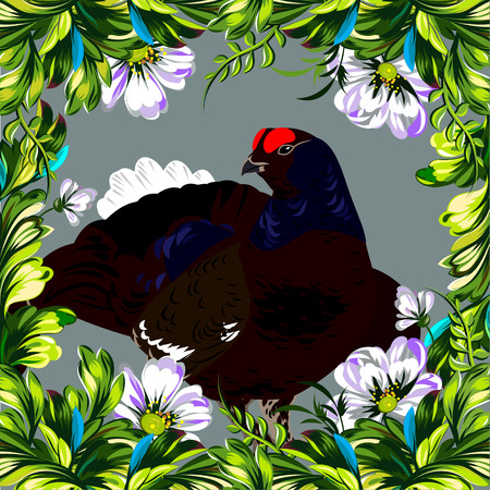 gamebird: Floral summer frame with tender wildflowers and forest grouse Illustration