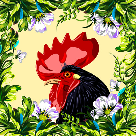 cock in a thicket of flowers vector illustration
