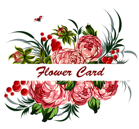 lowers: A tender flower card Illustration