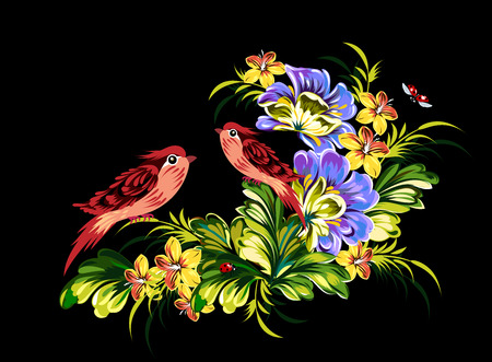 tree with birds: A tender flower card with a couple of cute little birds Illustration