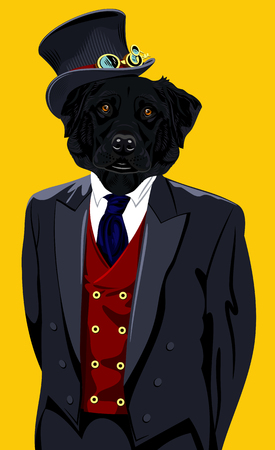 cyberpunk: Portrait of a Labrador dog in the mens suit and hat in the style of cyberpunk cylinder