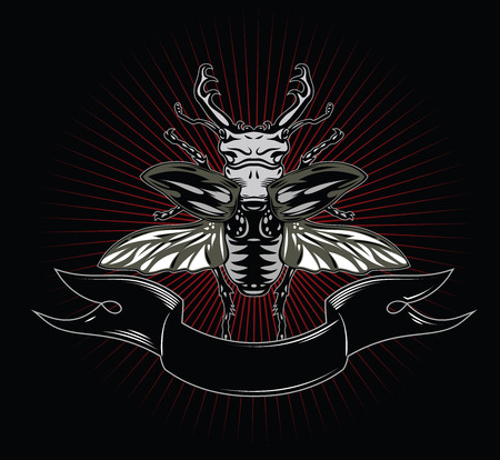 horned: Horned Beetle, banner and card suit of clubs