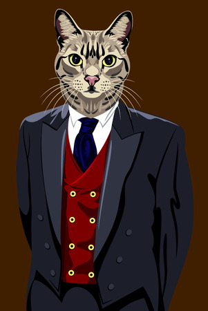 tabby: Portrait of a domestic tabby in a business suit Illustration