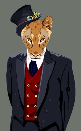 cruel: lion in a mans business suit