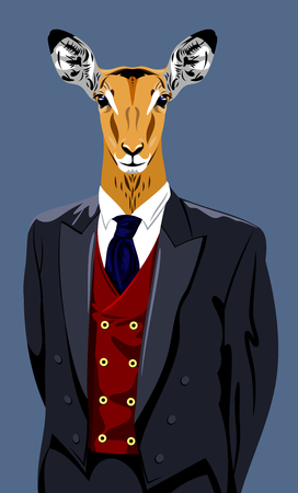 Portrait of a gazelle in a mans business suit