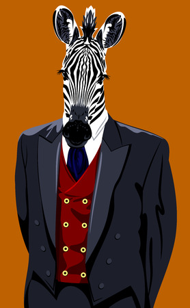 horse collar: Portrait of a zebra in a mans business suit Stock Photo