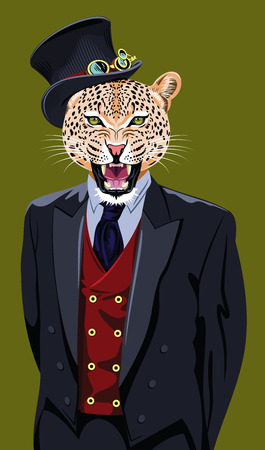 snarling: Portrait of a snarling jaguar male in a business suit