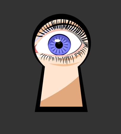 keek: eye looking through a keyhole