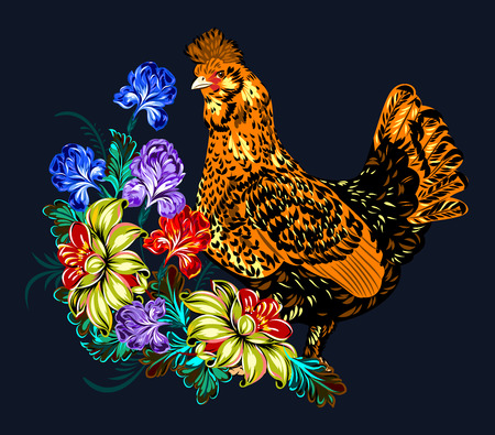 Image of elegant, beautiful, chicken with colorful feathers (symbol in 2017 by the Chinese calendar)