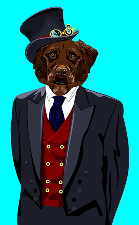 dog in the mens business suit
