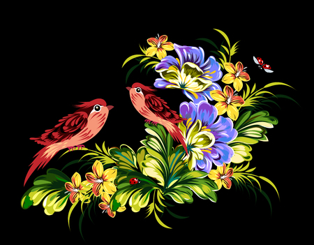 birds on branch: Couple little birds sitting on a branch in a lush garden Stock Photo