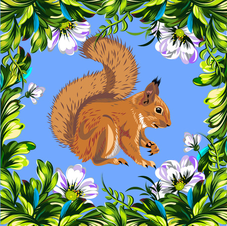 Squirrel in a beautiful floral frame