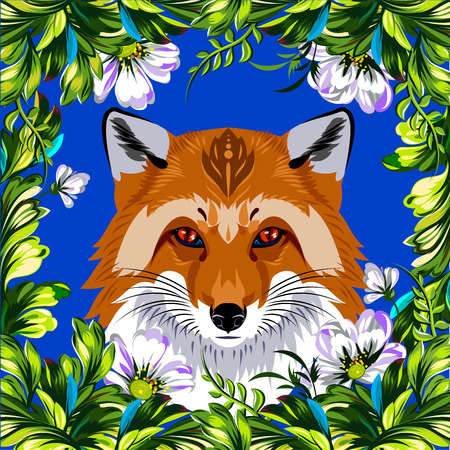 Fox in a beautiful floral frame