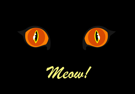 eyes looking down: Cats eyes glowing in the dark Illustration