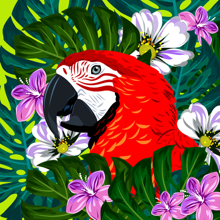 thickets: Portrait of a macaw parrot in thickets of tropical flowers vector illustration