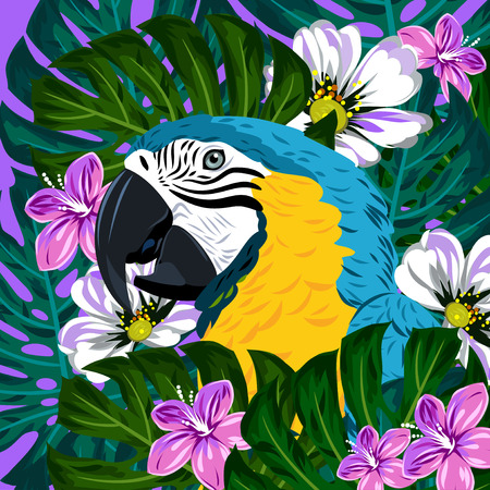 aviary: Portrait of a macaw parrot in thickets of tropical flowers vector illustration
